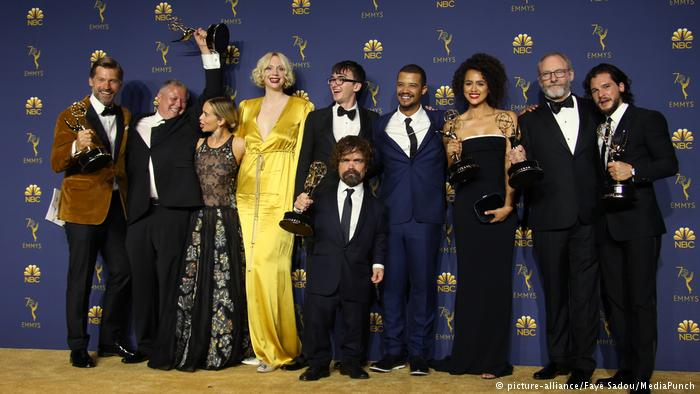 Game of Thrones cast members pose with trophies